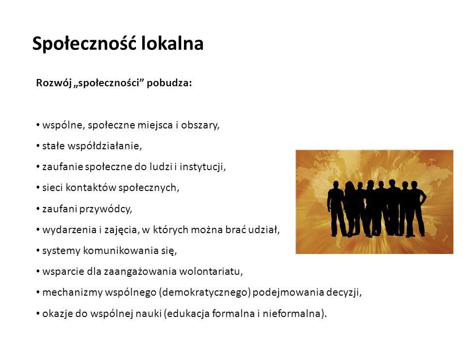 """Społeczność lokalna Rozwój """"społeczności pobudza:"""