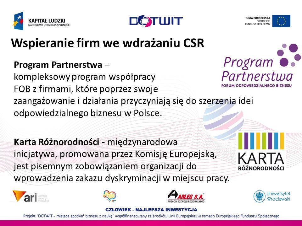 Wspieranie firm we wdrażaniu CSR