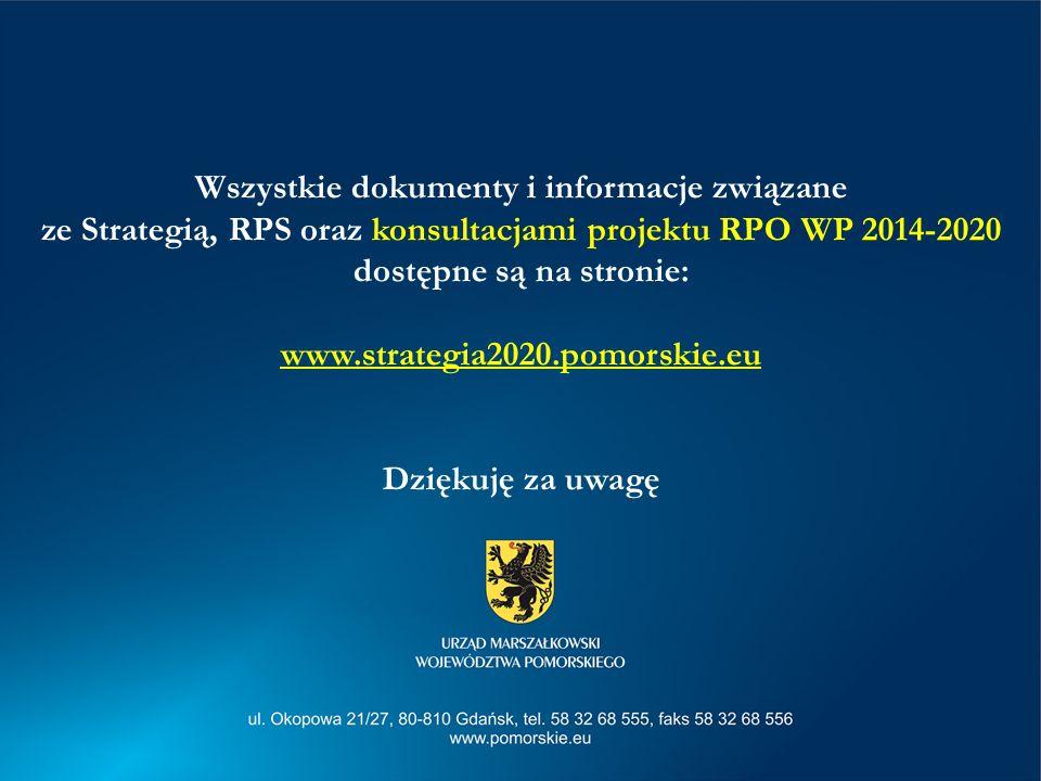 Wszystkie dokumenty i informacje związane ze Strategią, RPS oraz konsultacjami projektu RPO WP 2014-2020 dostępne są na stronie: www.strategia2020.pomorskie.eu
