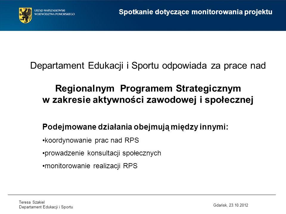 Departament Edukacji i Sportu odpowiada za prace nad