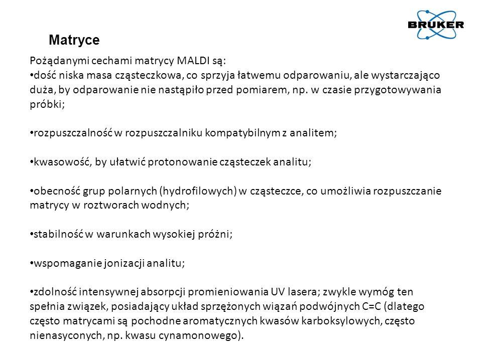 Matryce Pożądanymi cechami matrycy MALDI są: