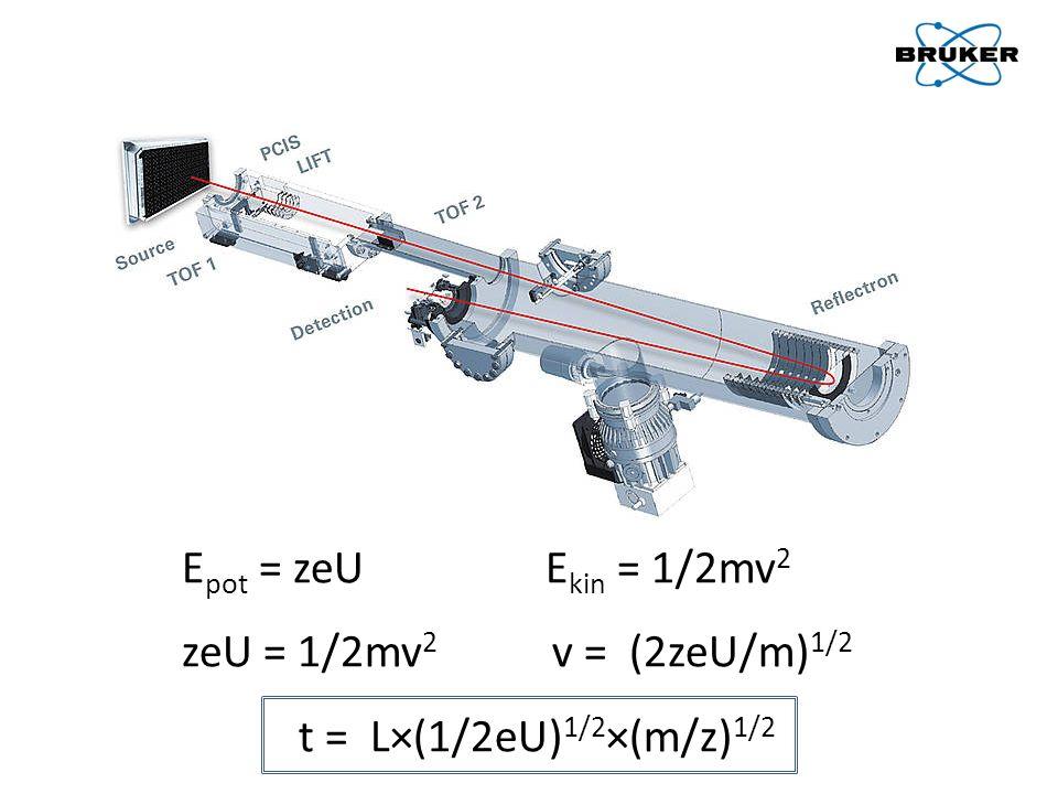 Epot = zeU Ekin = 1/2mv2 zeU = 1/2mv2 v = (2zeU/m)1/2.