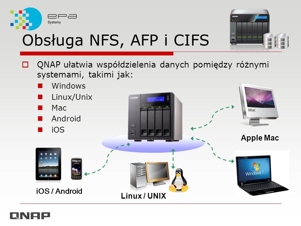 Obsługa NFS, AFP i CIFS QNAP ułatwia współdzielenia danych pomiędzy różnymi systemami, takimi jak: Windows.