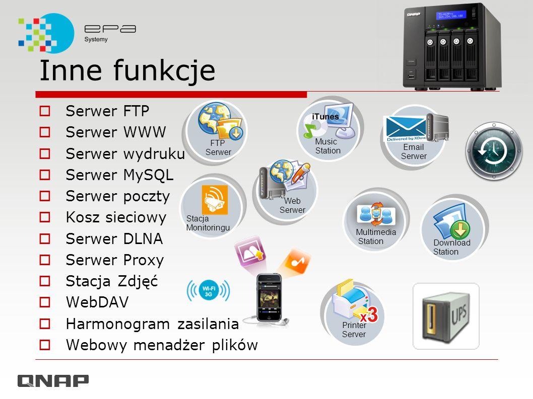 Inne funkcje Serwer FTP Serwer WWW Serwer wydruku Serwer MySQL