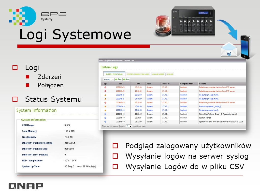 Logi Systemowe Logi Status Systemu Podgląd zalogowany użytkowników