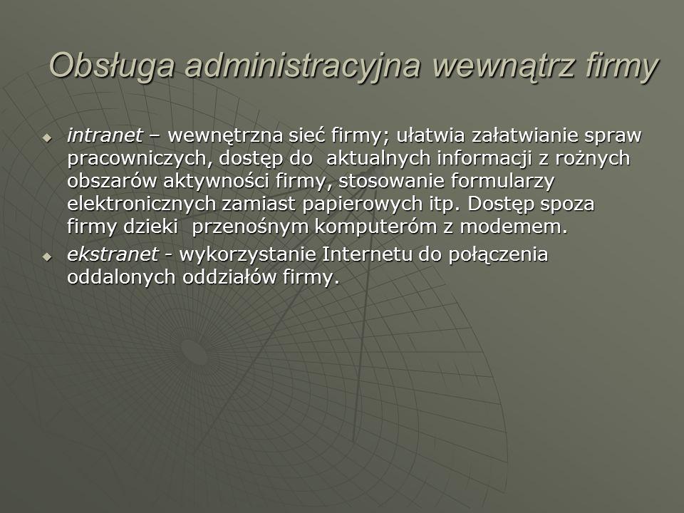 Obsługa administracyjna wewnątrz firmy