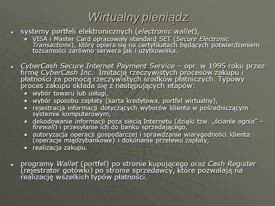 Wirtualny pieniądz systemy portfeli elektronicznych (electronic wallet),