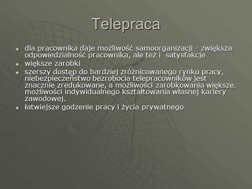 Telepracadla pracownika daje możliwość samoorganizacji - zwiększa odpowiedzialność pracownika, ale też i satysfakcje.