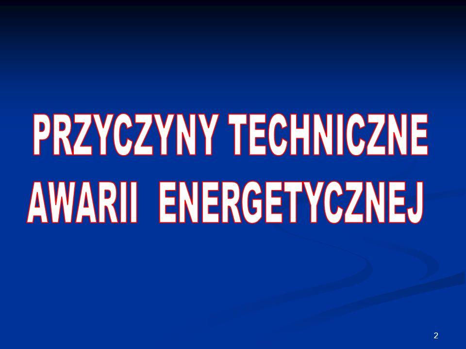 PRZYCZYNY TECHNICZNE AWARII ENERGETYCZNEJ