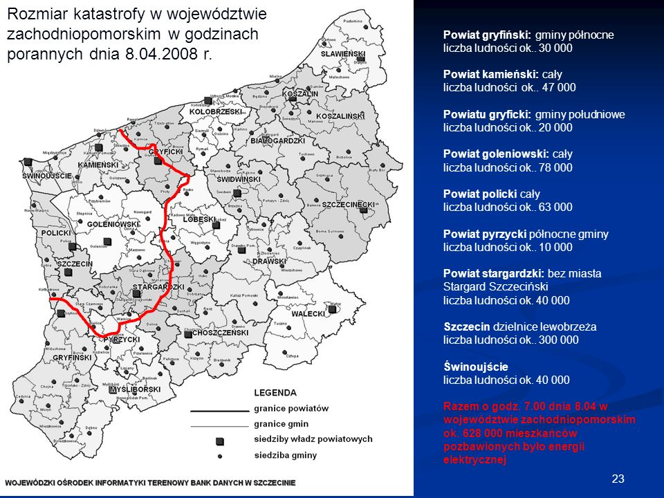 Rozmiar katastrofy w województwie zachodniopomorskim w godzinach porannych dnia 8.04.2008 r.