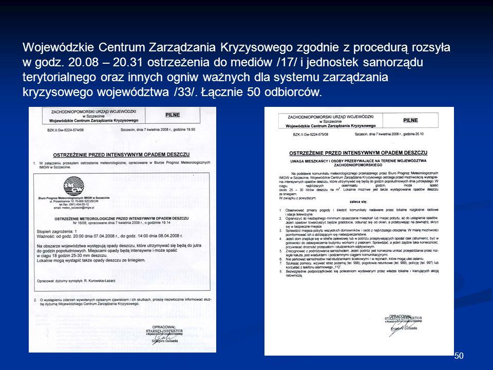Wojewódzkie Centrum Zarządzania Kryzysowego zgodnie z procedurą rozsyła w godz.