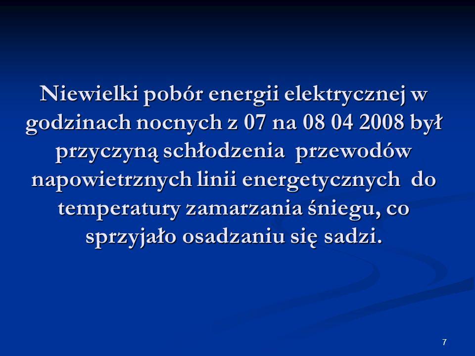 Niewielki pobór energii elektrycznej w godzinach nocnych z 07 na 08 04 2008 był przyczyną schłodzenia przewodów napowietrznych linii energetycznych do temperatury zamarzania śniegu, co sprzyjało osadzaniu się sadzi.