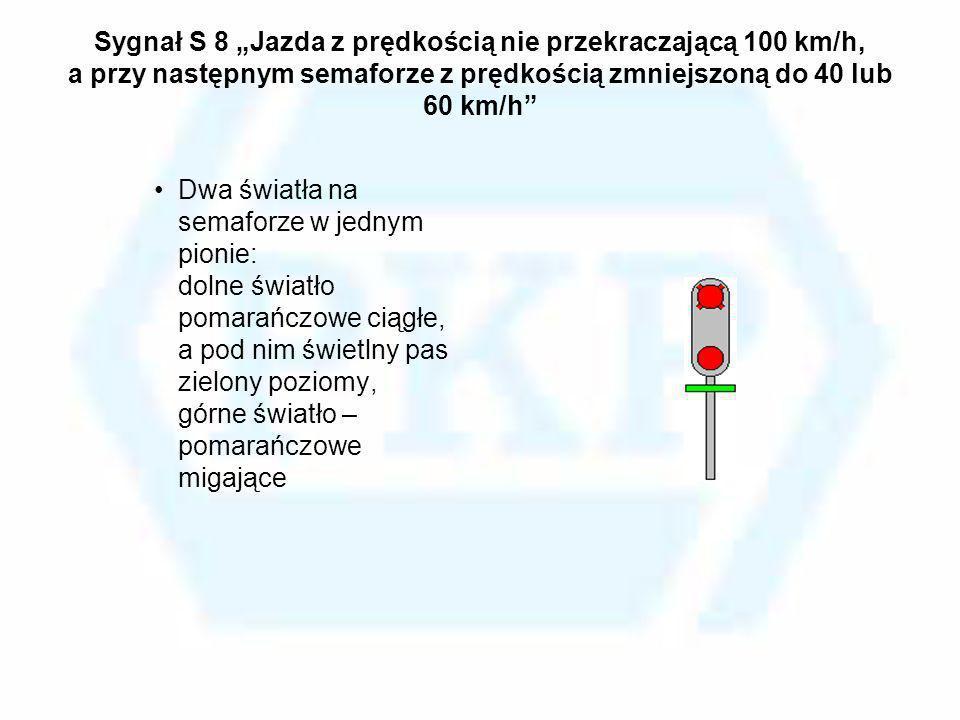 """Sygnał S 8 """"Jazda z prędkością nie przekraczającą 100 km/h, a przy następnym semaforze z prędkością zmniejszoną do 40 lub 60 km/h"""