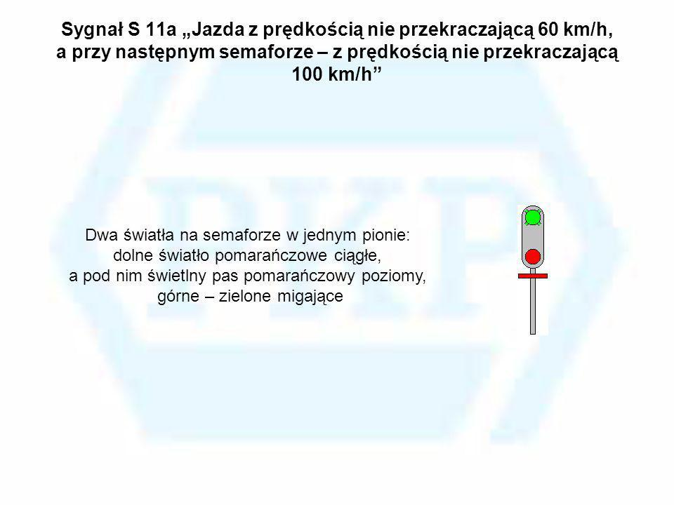 """Sygnał S 11a """"Jazda z prędkością nie przekraczającą 60 km/h, a przy następnym semaforze – z prędkością nie przekraczającą 100 km/h"""
