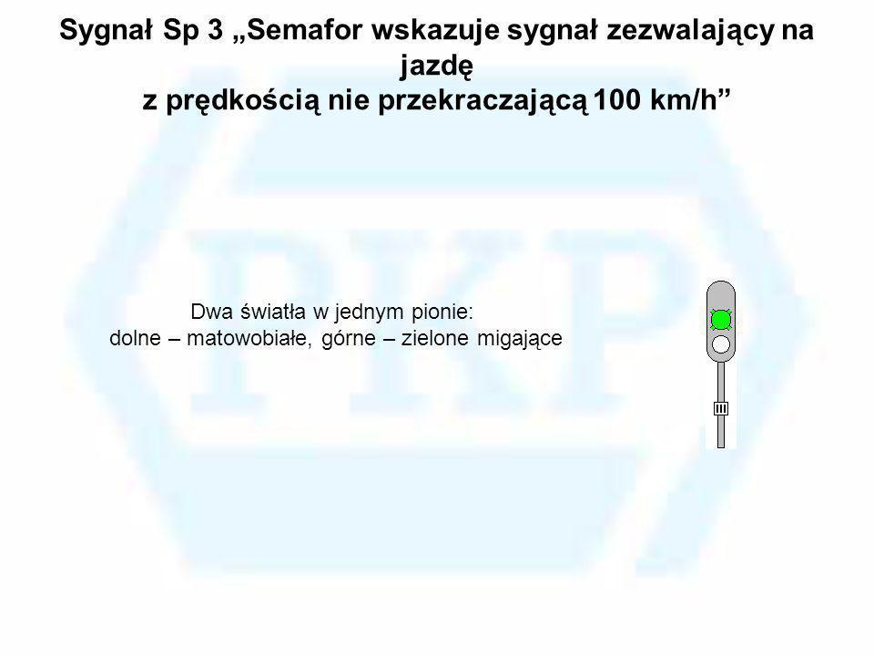 """Sygnał Sp 3 """"Semafor wskazuje sygnał zezwalający na jazdę z prędkością nie przekraczającą 100 km/h"""