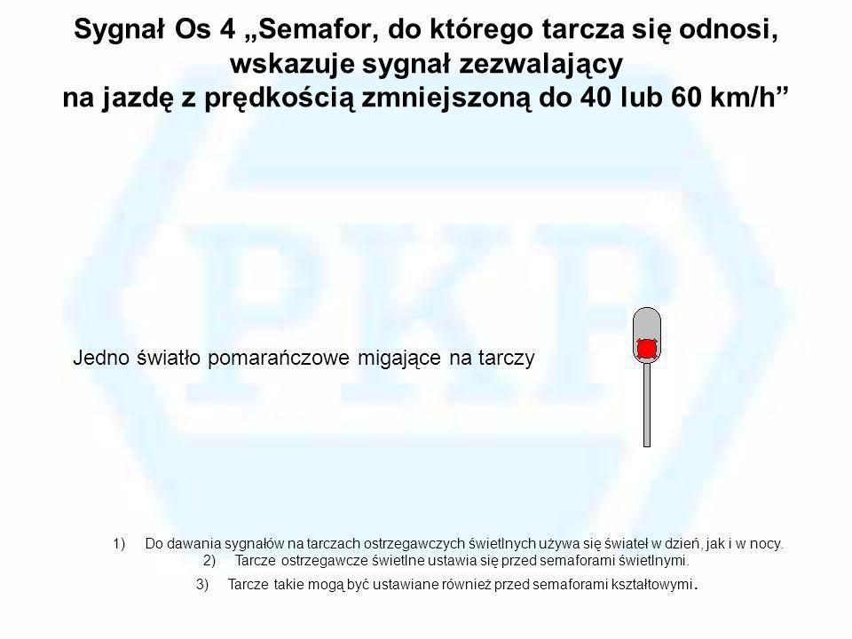 """Sygnał Os 4 """"Semafor, do którego tarcza się odnosi, wskazuje sygnał zezwalający na jazdę z prędkością zmniejszoną do 40 lub 60 km/h"""