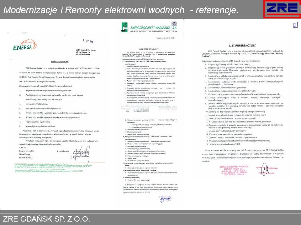 Modernizacje i Remonty elektrowni wodnych - referencje.