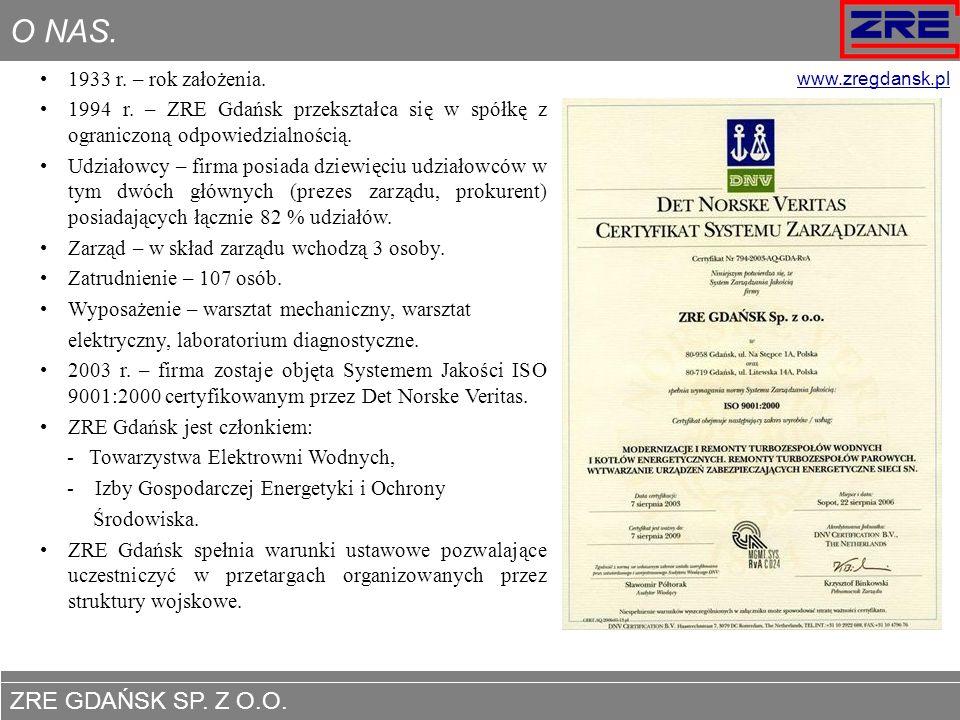 O NAS. 1933 r. – rok założenia. 1994 r. – ZRE Gdańsk przekształca się w spółkę z ograniczoną odpowiedzialnością.