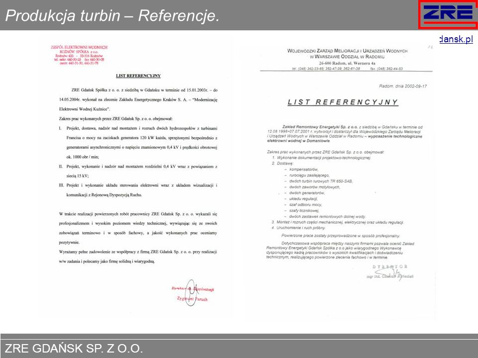 Produkcja turbin – Referencje.