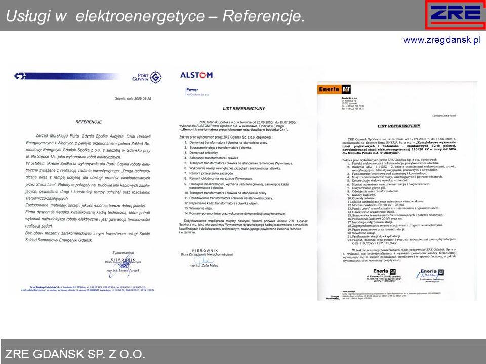 Usługi w elektroenergetyce – Referencje.