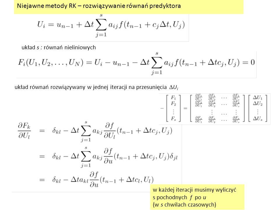 Niejawne metody RK – rozwiązywanie równań predyktora