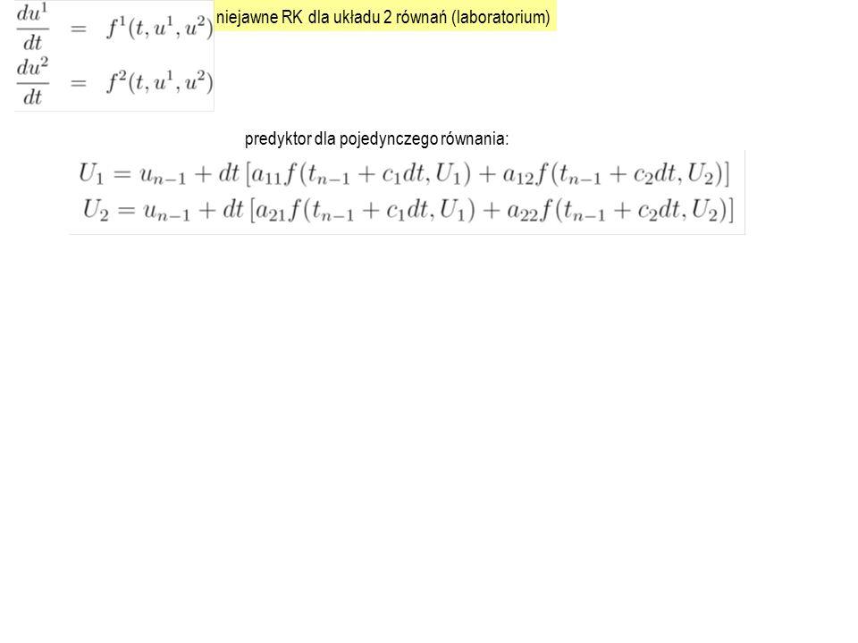 niejawne RK dla układu 2 równań (laboratorium)