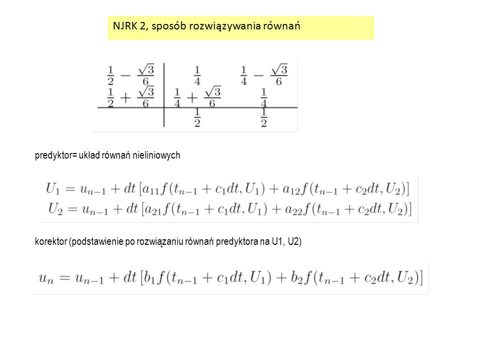 NJRK 2, sposób rozwiązywania równań