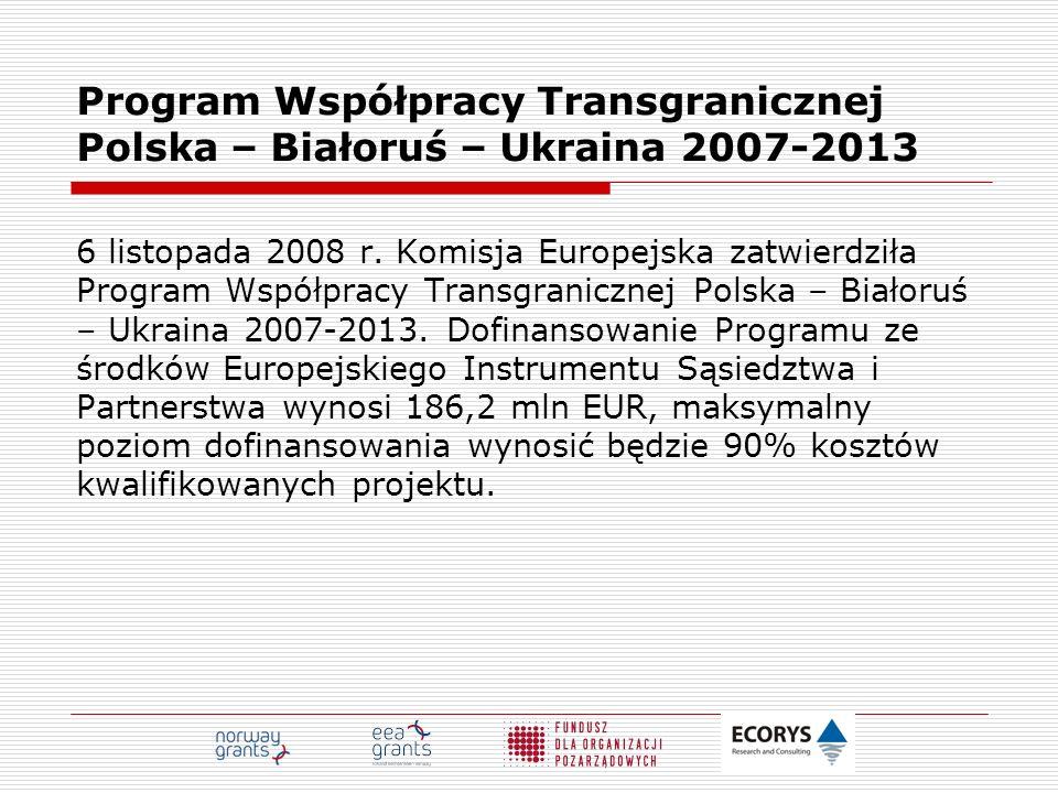 Program Współpracy Transgranicznej Polska – Białoruś – Ukraina 2007-2013