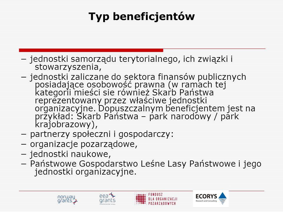 Typ beneficjentów − jednostki samorządu terytorialnego, ich związki i stowarzyszenia,