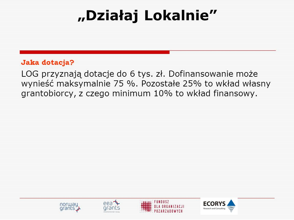 """""""Działaj Lokalnie Jaka dotacja"""