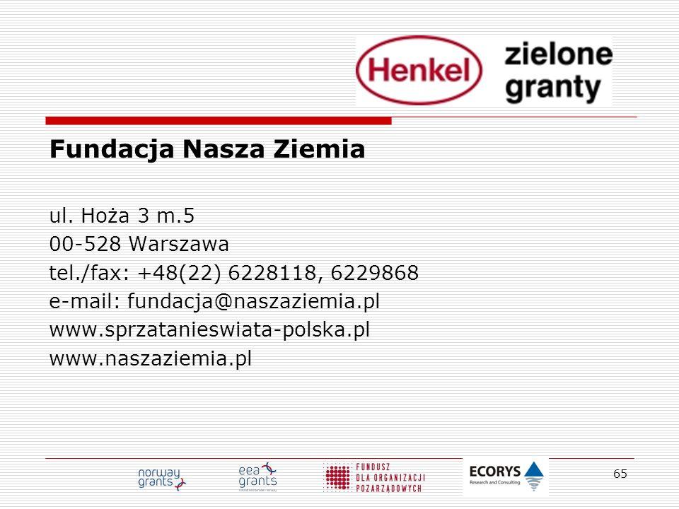 Fundacja Nasza Ziemia ul. Hoża 3 m.5 00-528 Warszawa