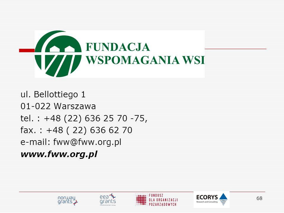 ul. Bellottiego 1 01-022 Warszawa. tel. : +48 (22) 636 25 70 -75, fax. : +48 ( 22) 636 62 70. e-mail: fww@fww.org.pl.