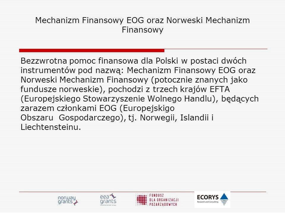 Mechanizm Finansowy EOG oraz Norweski Mechanizm Finansowy