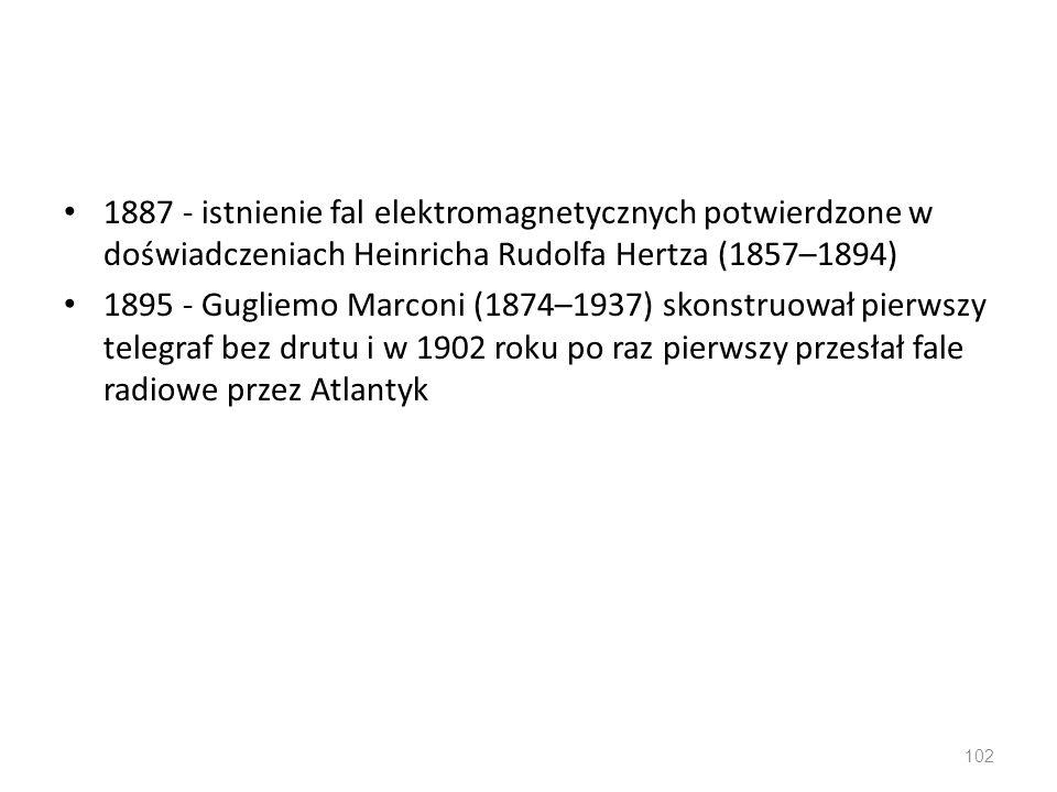 1887 - istnienie fal elektromagnetycznych potwierdzone w doświadczeniach Heinricha Rudolfa Hertza (1857–1894)