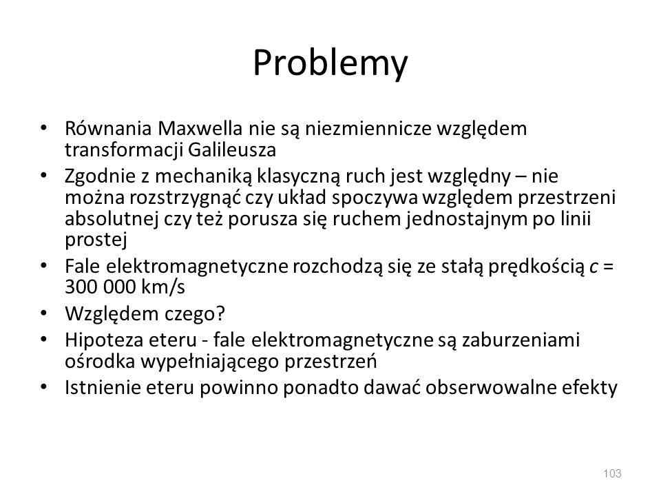Problemy Równania Maxwella nie są niezmiennicze względem transformacji Galileusza.