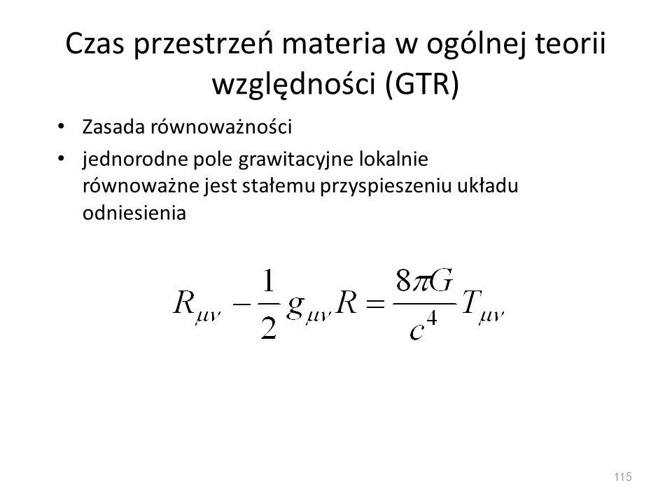 Czas przestrzeń materia w ogólnej teorii względności (GTR)