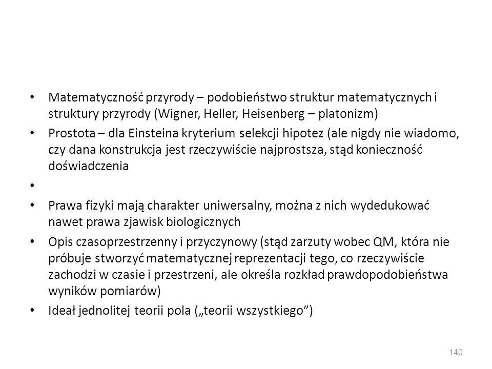 Matematyczność przyrody – podobieństwo struktur matematycznych i struktury przyrody (Wigner, Heller, Heisenberg – platonizm)