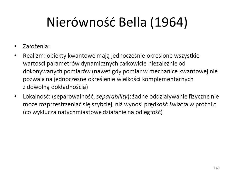 Nierówność Bella (1964) Założenia:
