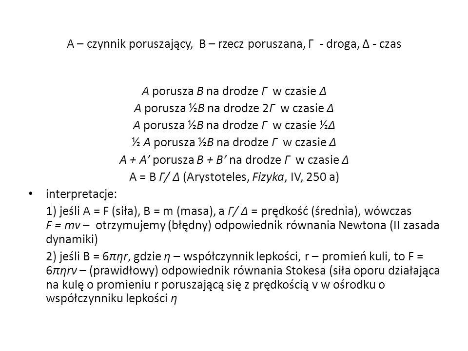 A – czynnik poruszający, B – rzecz poruszana, Γ - droga, Δ - czas