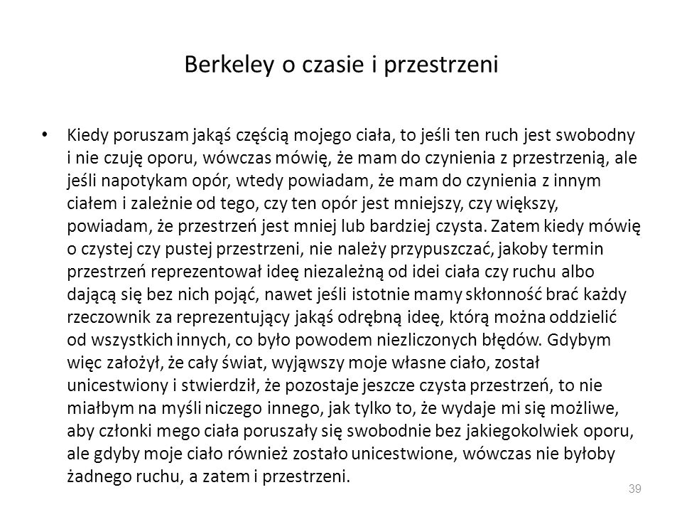 Berkeley o czasie i przestrzeni