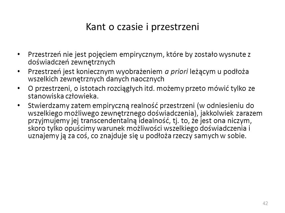 Kant o czasie i przestrzeni