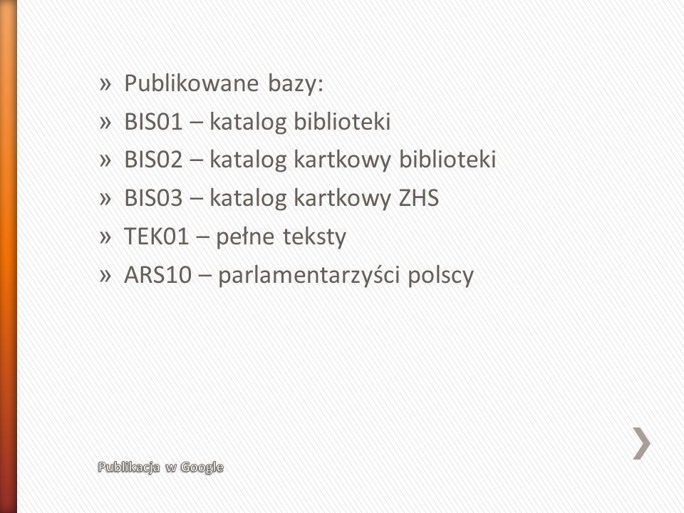 BIS01 – katalog biblioteki BIS02 – katalog kartkowy biblioteki