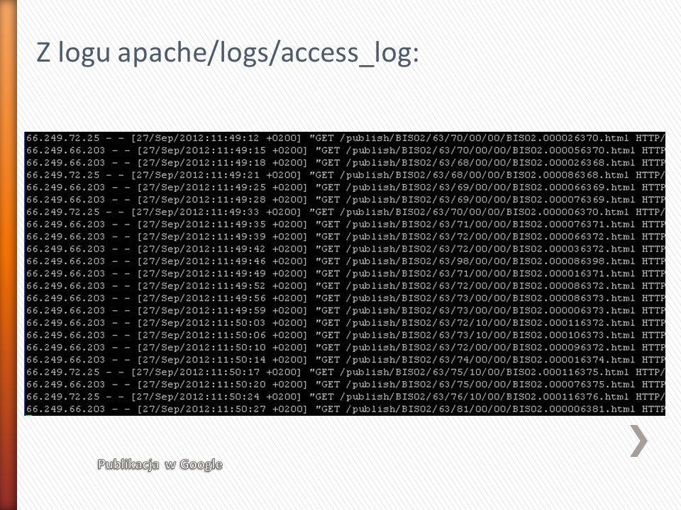 Z logu apache/logs/access_log: