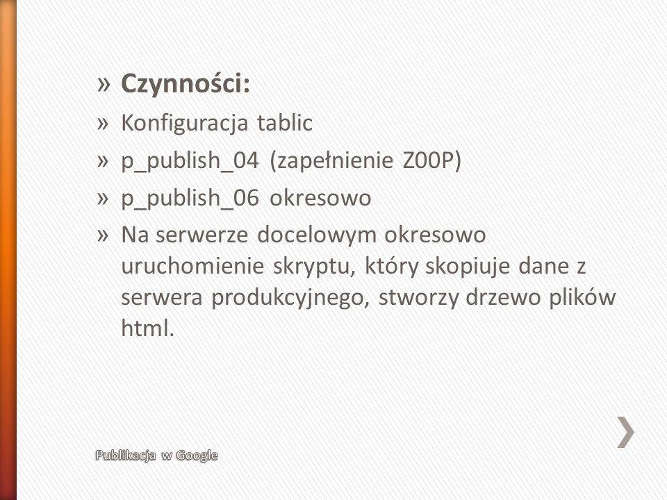 Czynności: Konfiguracja tablic p_publish_04 (zapełnienie Z00P)