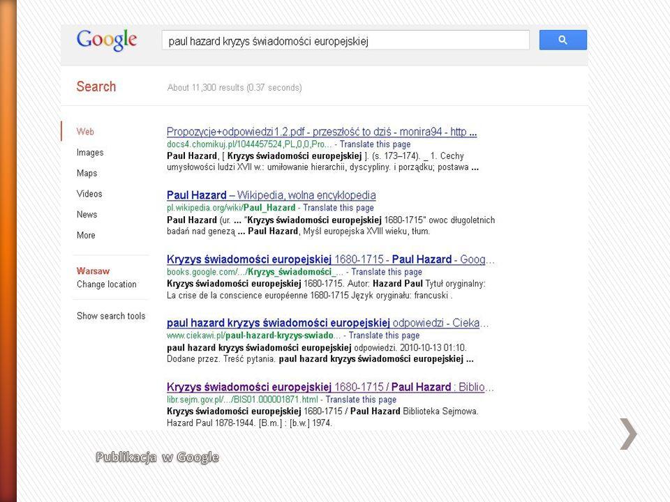 Publikacja w Google
