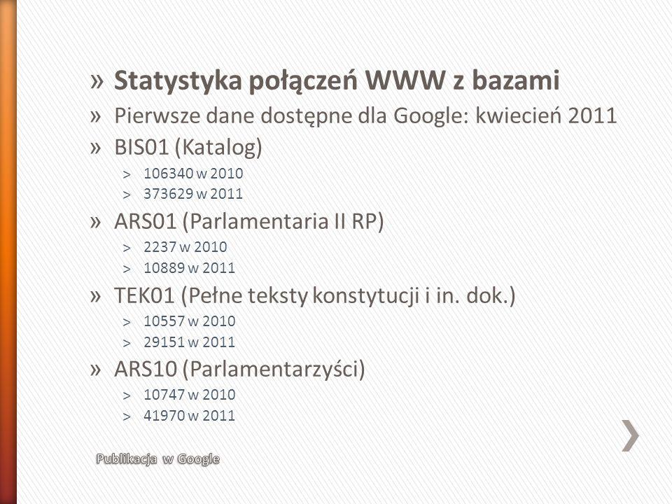 Statystyka połączeń WWW z bazami
