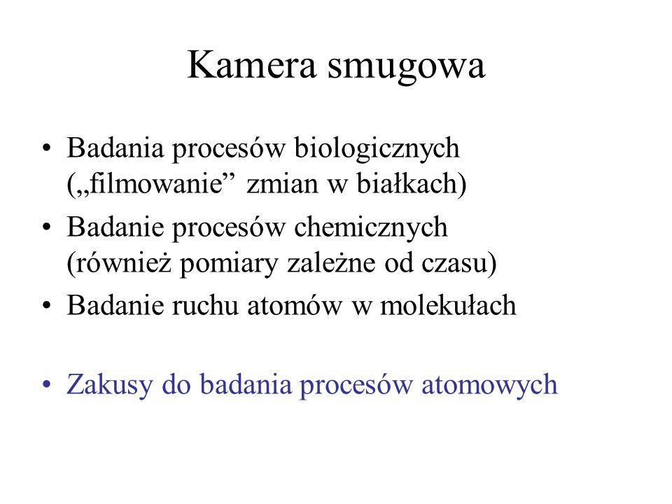 """Kamera smugowa Badania procesów biologicznych (""""filmowanie zmian w białkach) Badanie procesów chemicznych (również pomiary zależne od czasu)"""