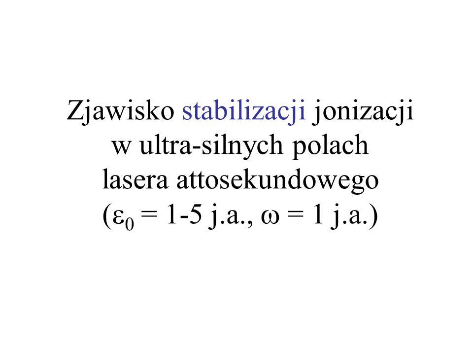 Zjawisko stabilizacji jonizacji w ultra-silnych polach lasera attosekundowego (e0 = 1-5 j.a., w = 1 j.a.)