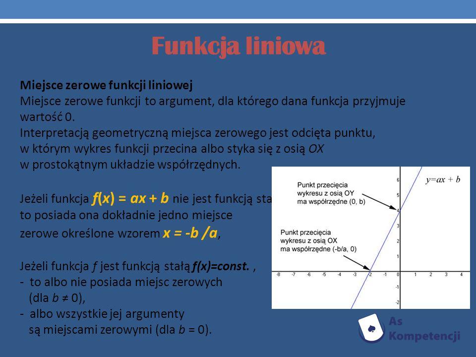 Funkcja liniowa Miejsce zerowe funkcji liniowej