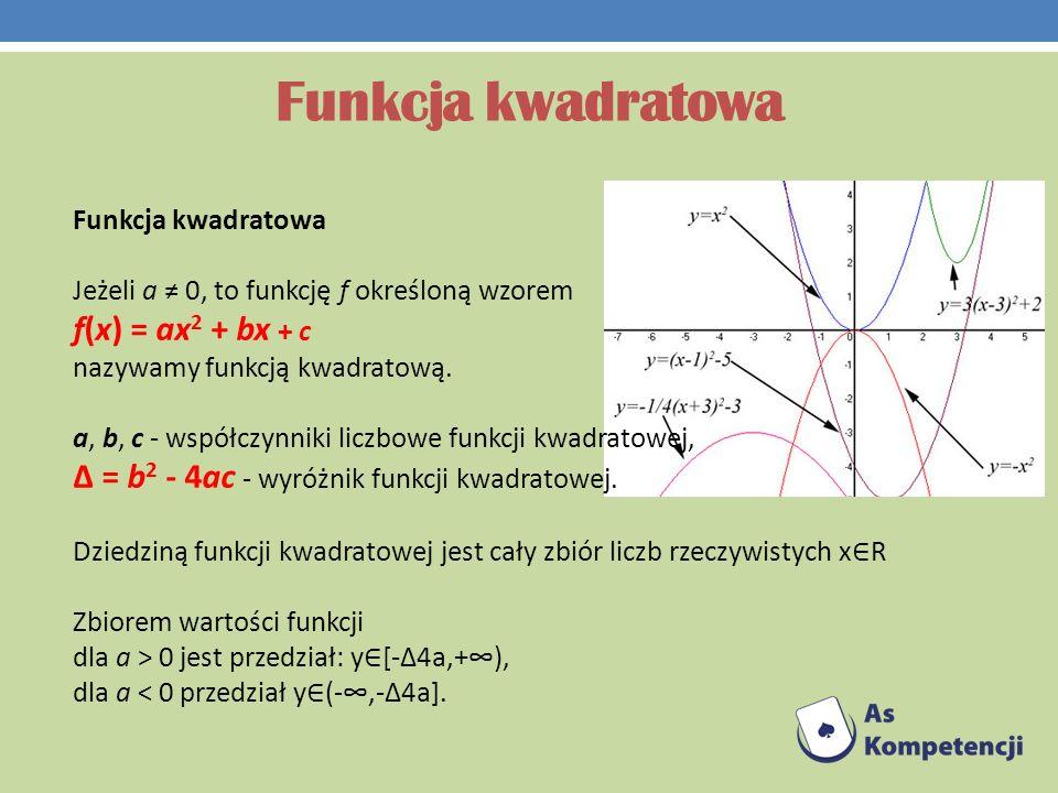 Funkcja kwadratowa f(x) = ax2 + bx + c Funkcja kwadratowa